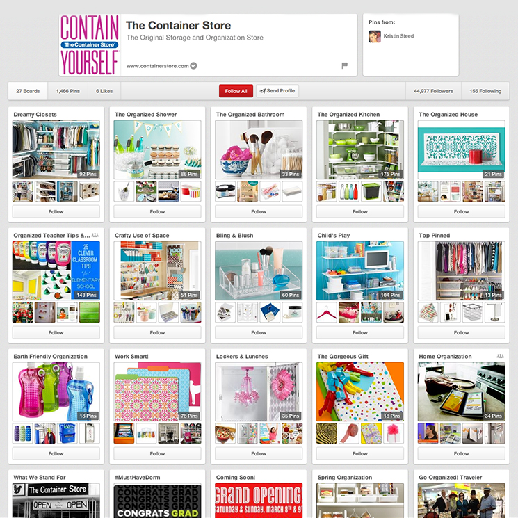 container store pinterest boards