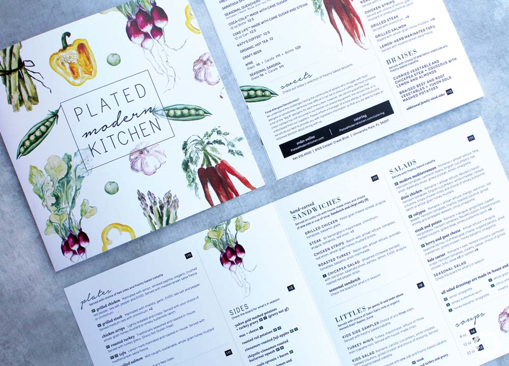 restaurant menu design tampa