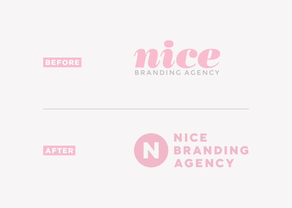nice branding agency logo design before and after