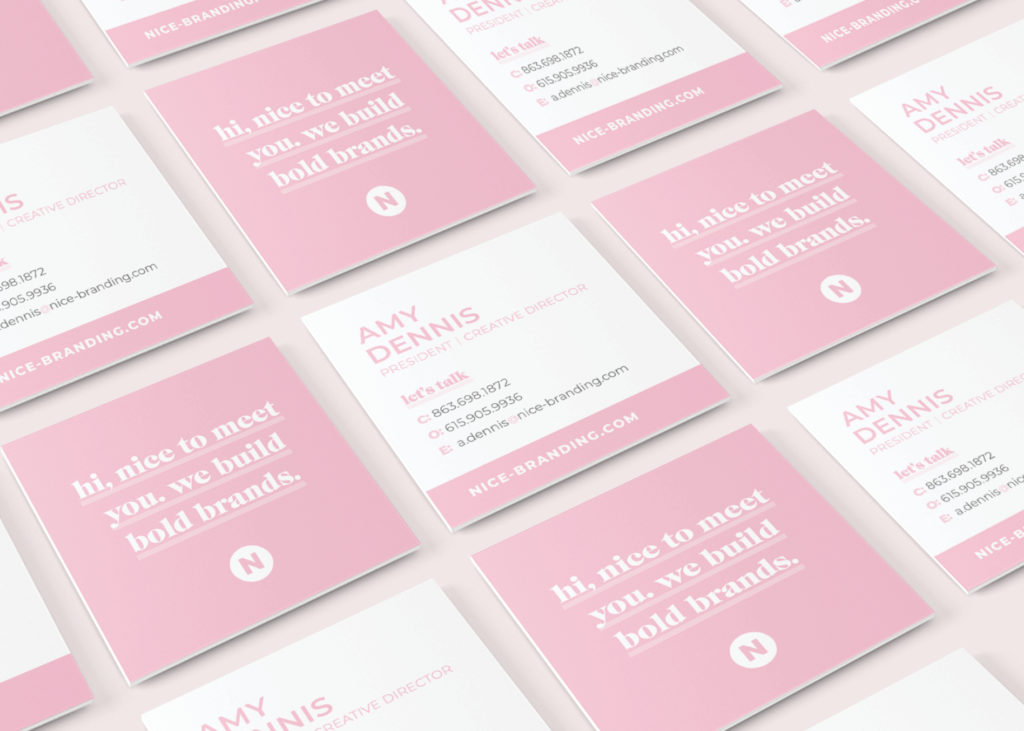 nice branding agency business cards